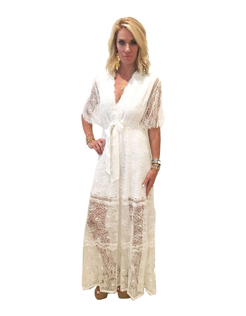 Alexis Cleve Lace Gown in Off White - SWANK - Dresses - 2