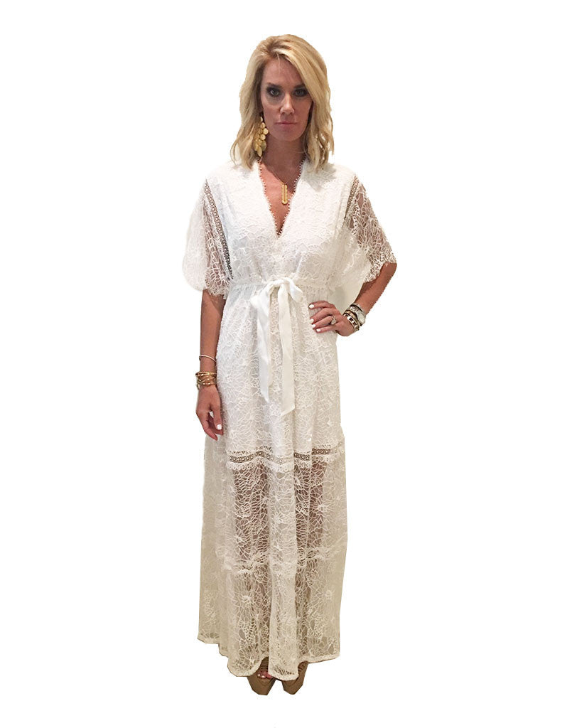 Alexis Cleve Lace Gown in Off White - SWANK - Dresses - 3