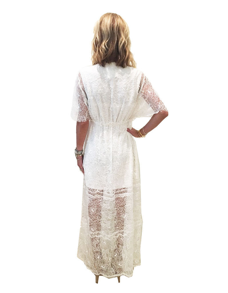 Alexis Cleve Lace Gown in Off White - SWANK - Dresses - 4