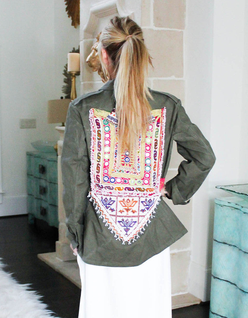 Vintage Embroidered Army Jacket in Army Green