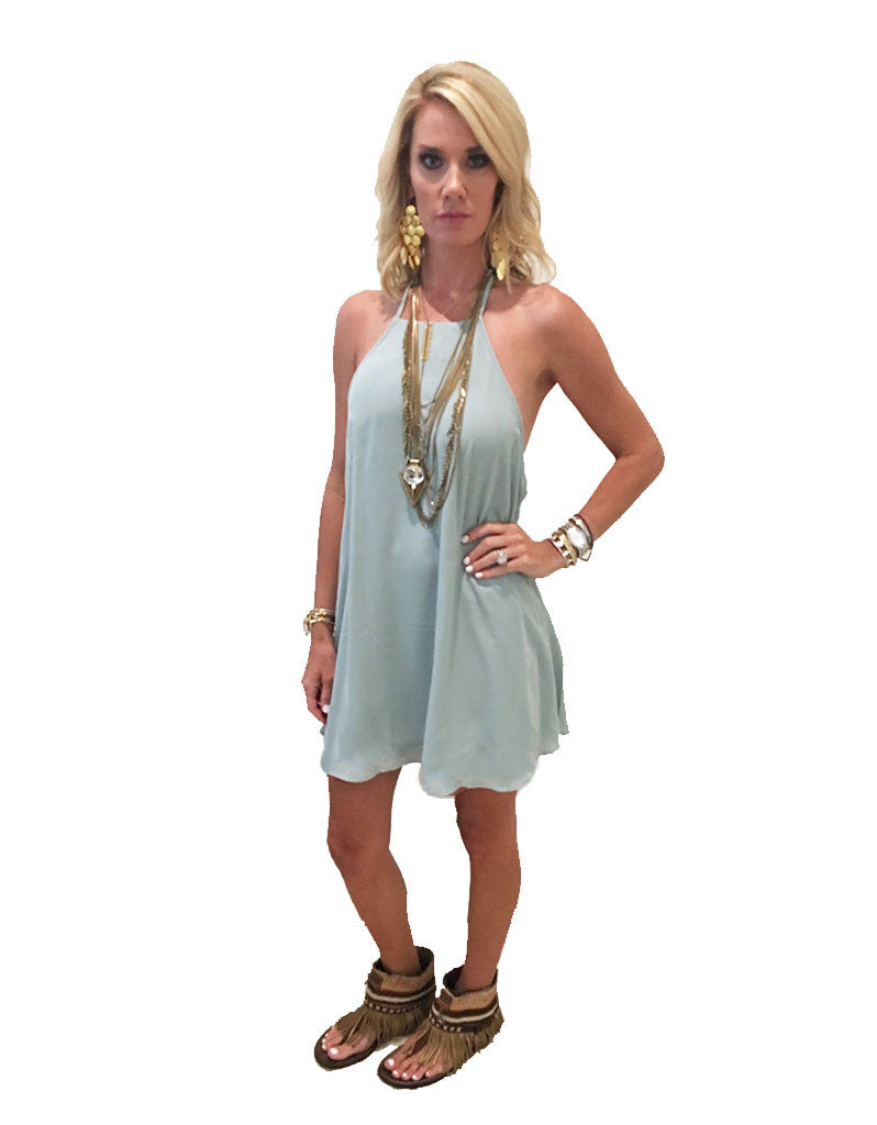 Show Me Your Mumu Katy Halter Dress in Sea Mist Crisp - SWANK - Dresses - 4