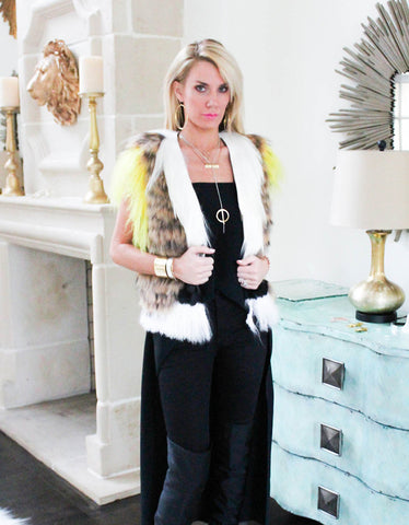 Fur Vest w/ Multi Color Fur Combo