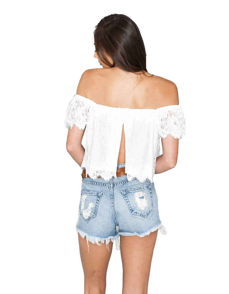 Show Me Your Mumu Ella Top Spring Fling Lace in White - SWANK - Tops - 1