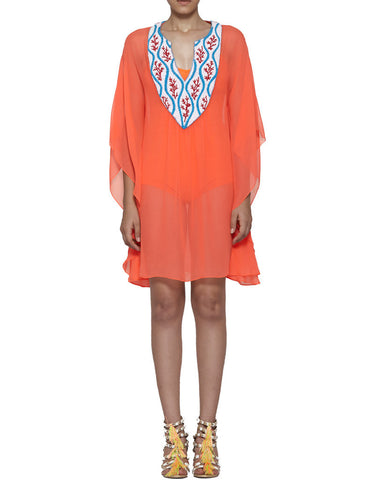 Pia Pauro Embroidered Neck Short Kaftan