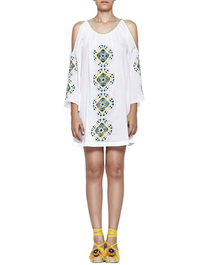 Pia Pauro Embroidered Tunic in White - SWANK - Dresses - 1