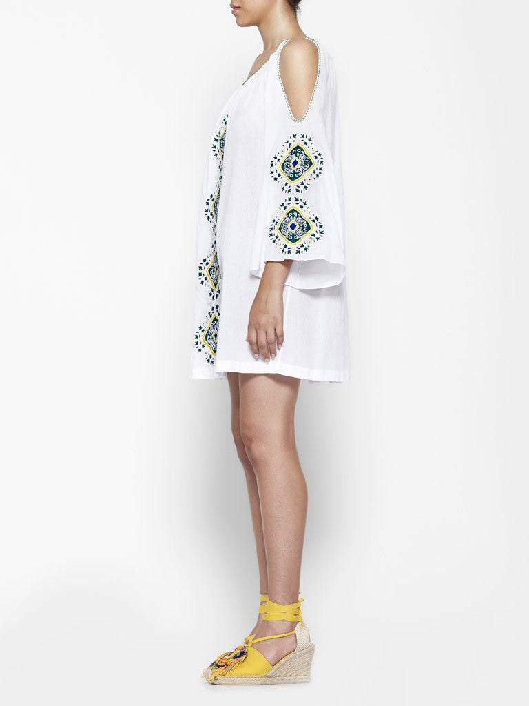 Pia Pauro Embroidered Tunic in White - SWANK - Dresses - 3