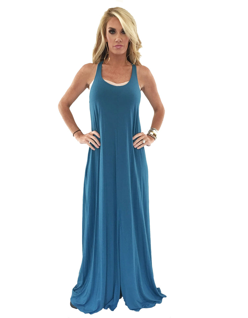 Michael Lauren Grady Circle Open Back Tank Dress in Black and Spruce Blue - SWANK - Dresses - 3