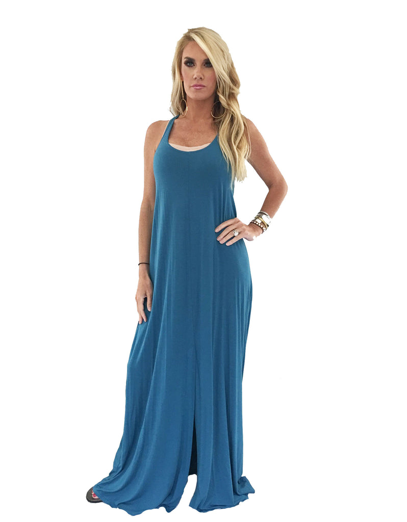 Michael Lauren Grady Circle Open Back Tank Dress in Black and Spruce Blue - SWANK - Dresses - 4