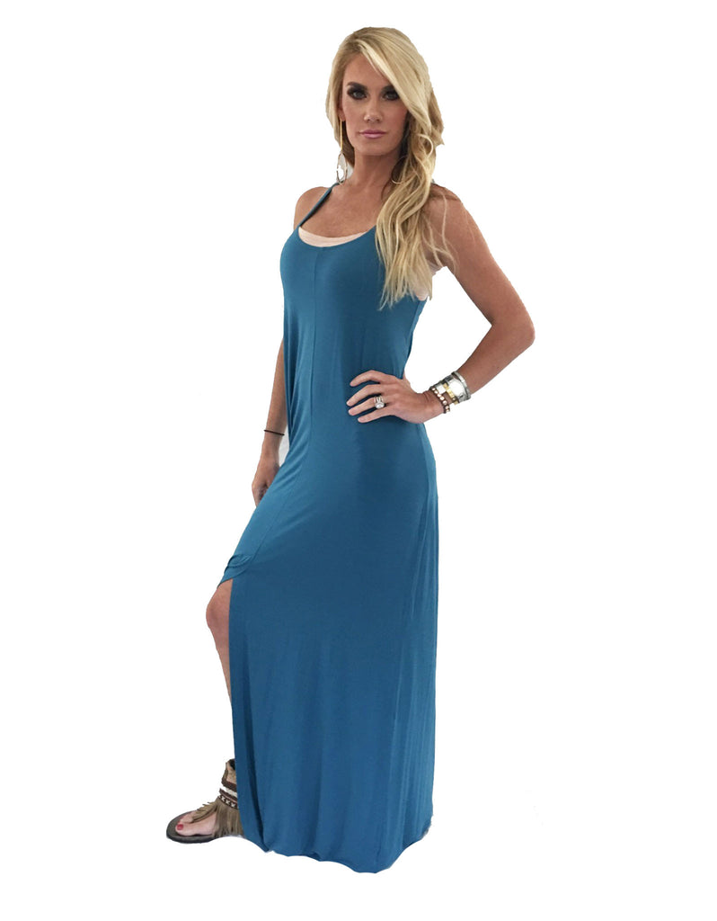 Michael Lauren Grady Circle Open Back Tank Dress in Black and Spruce Blue - SWANK - Dresses - 2
