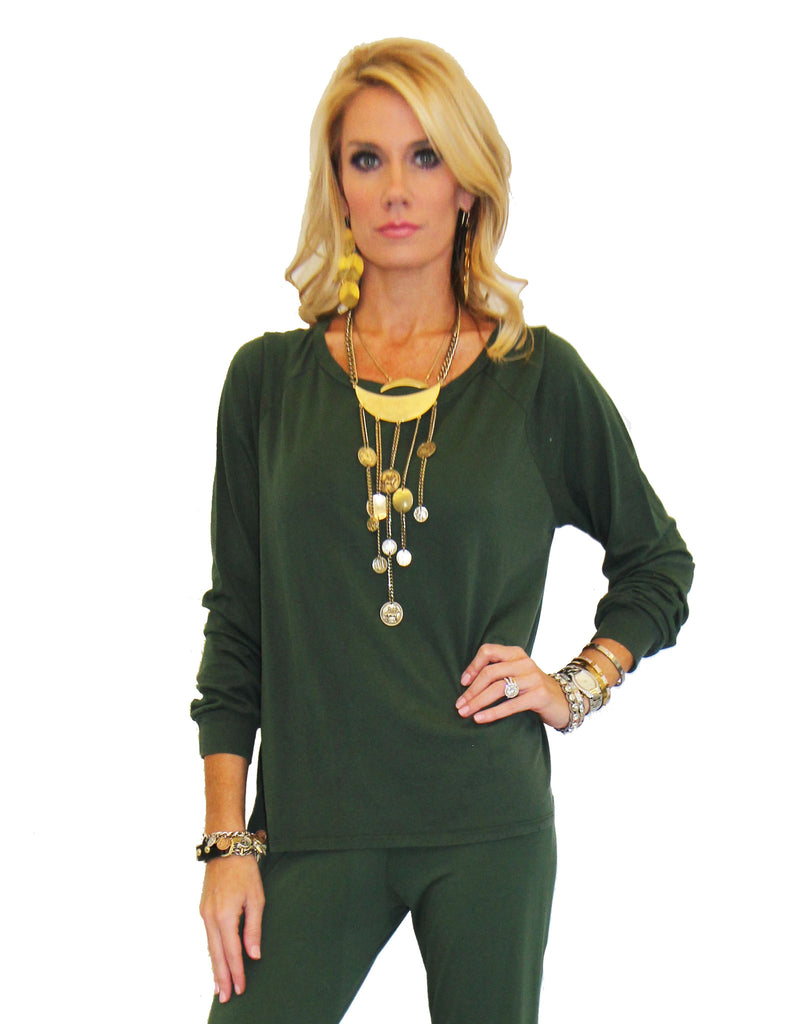 Michael Lauren Kelton L/S Crop Tee in Dark Moss and Navy - SWANK - Tops - 1