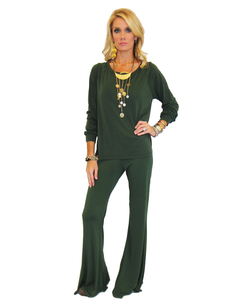 Michael Lauren Kelton L/S Crop Tee in Dark Moss and Navy - SWANK - Tops - 2