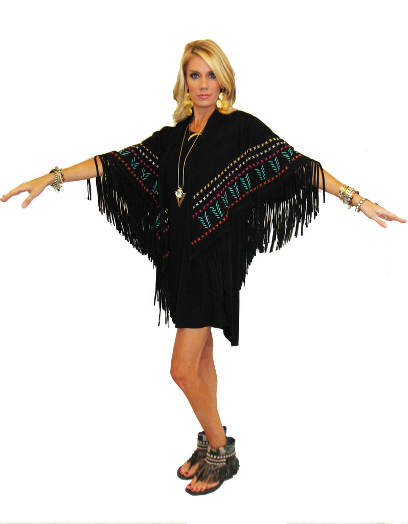 Earth Angel Jacket with Fringe in Black w/ Multicolor Stitching - SWANK - Jackets - 2