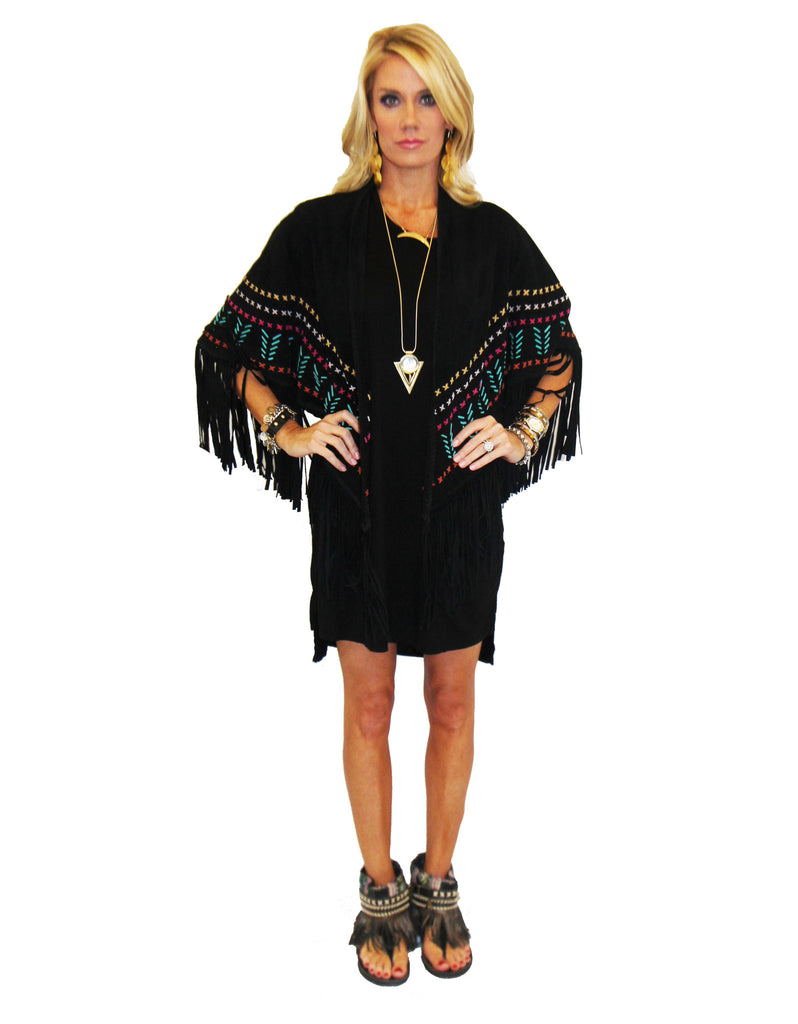 Earth Angel Jacket with Fringe in Black w/ Multicolor Stitching - SWANK - Jackets - 1