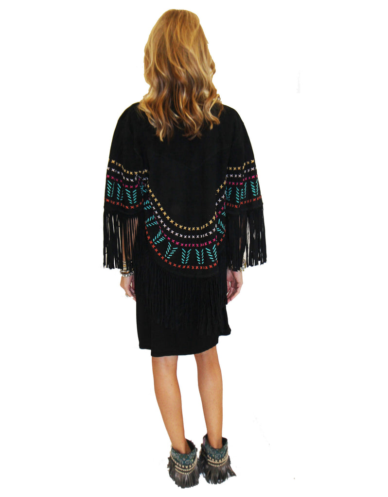 Earth Angel Jacket with Fringe in Black w/ Multicolor Stitching - SWANK - Jackets - 3
