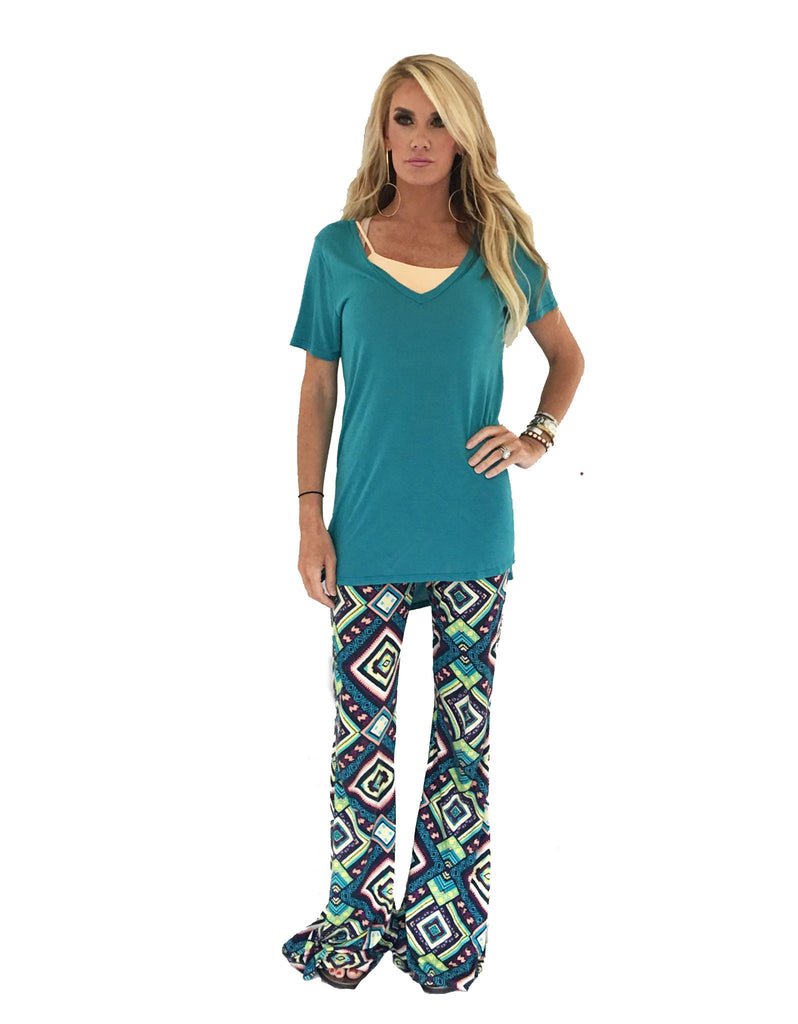 Michael Lauren Tennessee V-Neck Top in Lagoon - SWANK - Tops - 4