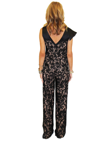 Alexis Oscar Jumpsuit in Black Lace