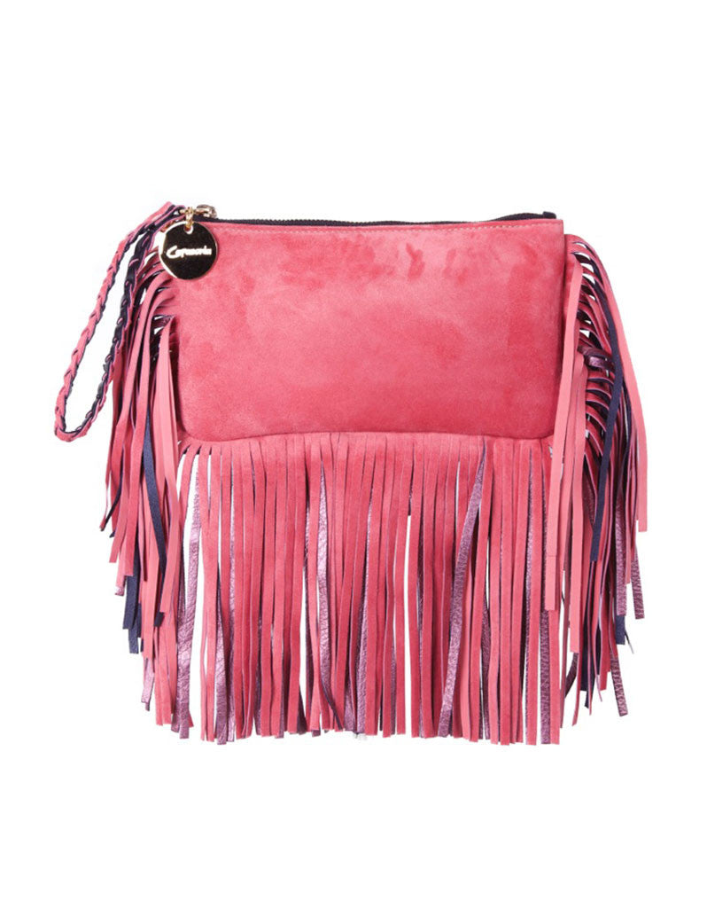 Capazonia Fidji Mini Fringe Clutch in Pink Suede - SWANK - Handbags - 1