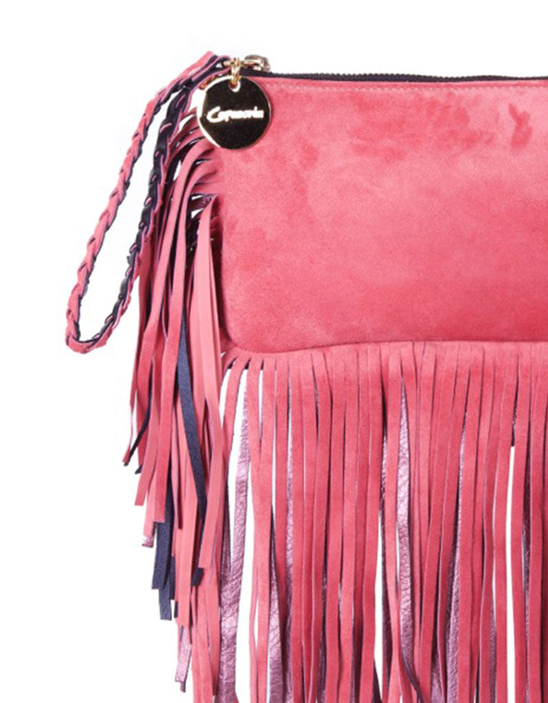 Capazonia Fidji Mini Fringe Clutch in Pink Suede - SWANK - Handbags - 2