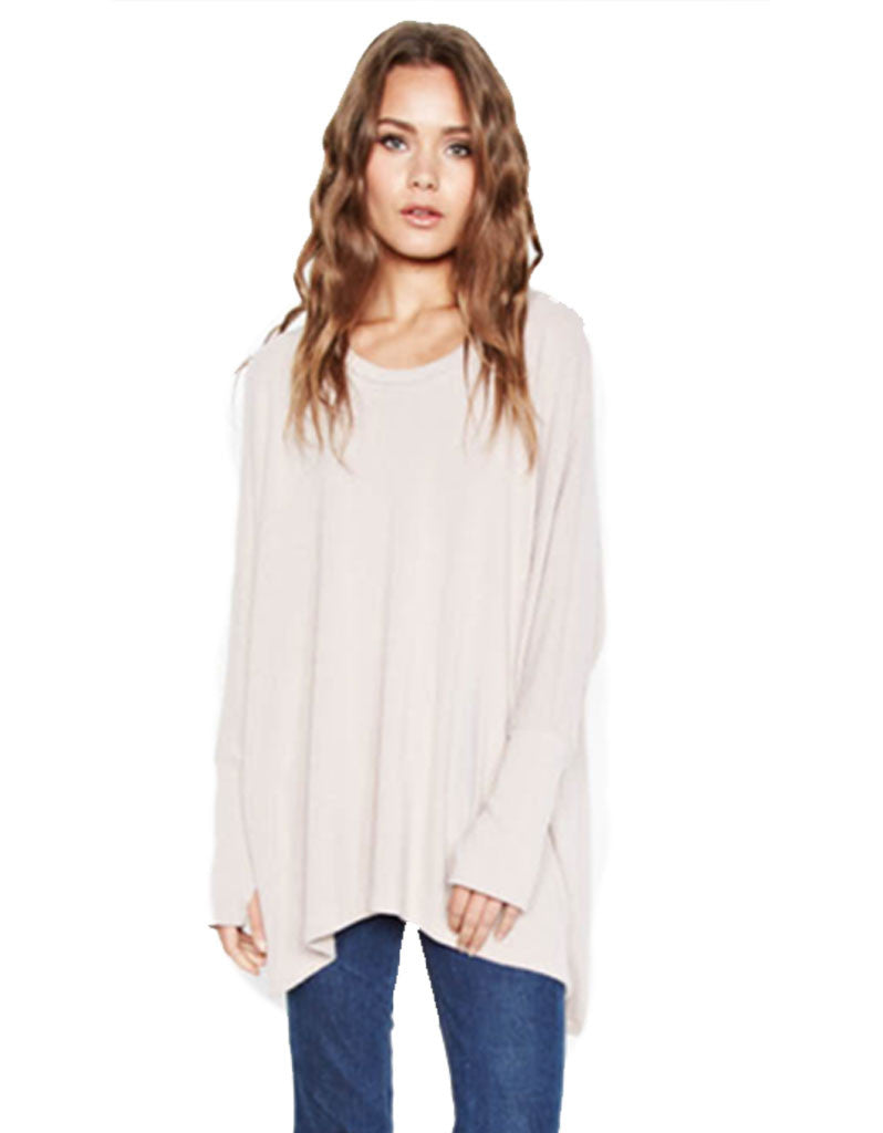 Michael Lauren Flint Oversized Pullover in Oatmeal - SWANK - Tops - 1