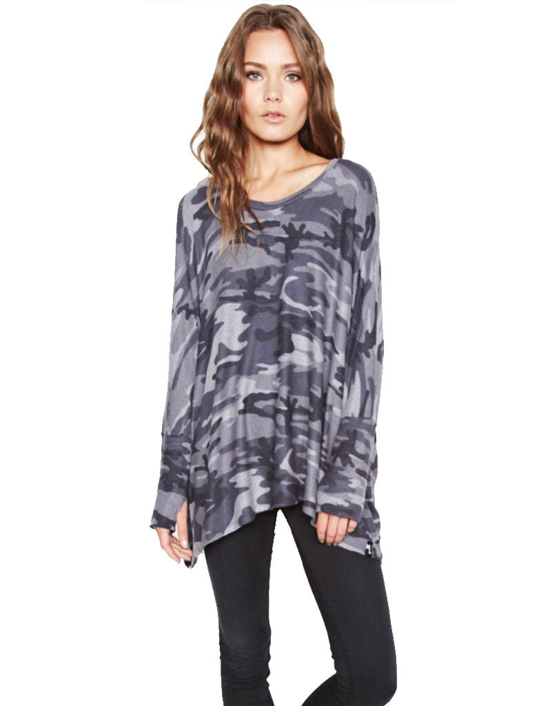 Michael Lauren Flint Oversized Pullover in Asphalt Camo - SWANK - Tops - 1