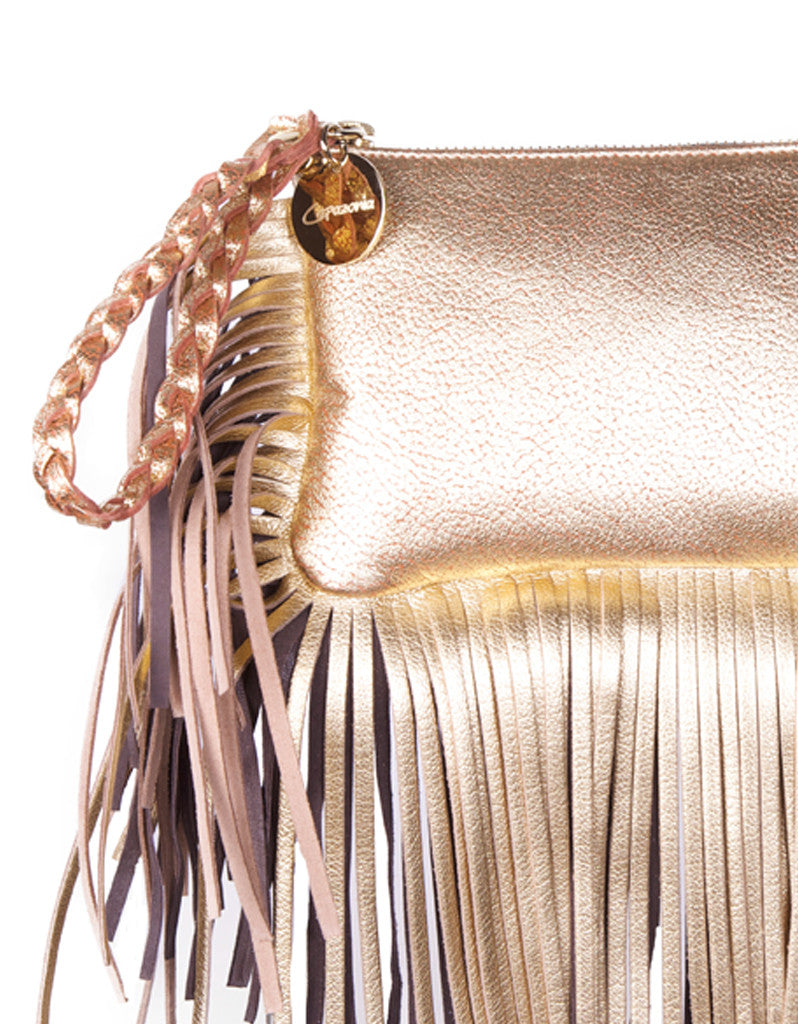 Capazonia Fidji Mini Fringe Clutch in Gold - SWANK - Handbags - 2