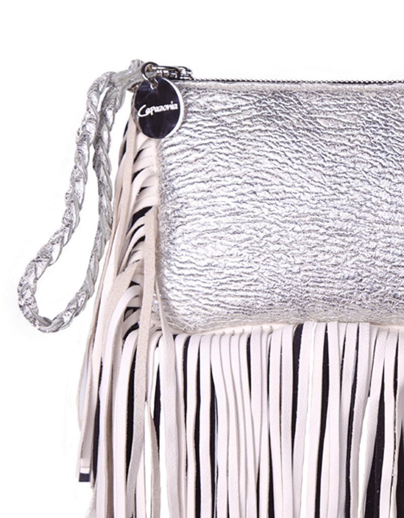 Capazonia Fidji Mini Fringe Clutch in Silver - SWANK - Handbags - 2