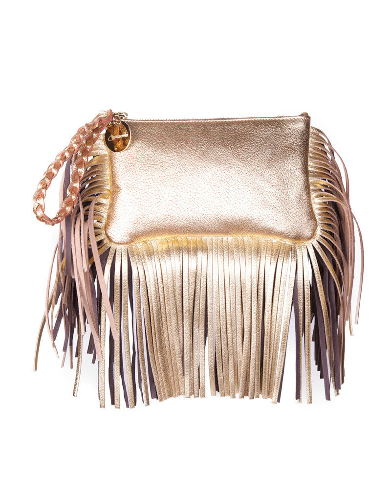 Capazonia Fidji Mini Fringe Clutch in Gold - SWANK - Handbags - 1
