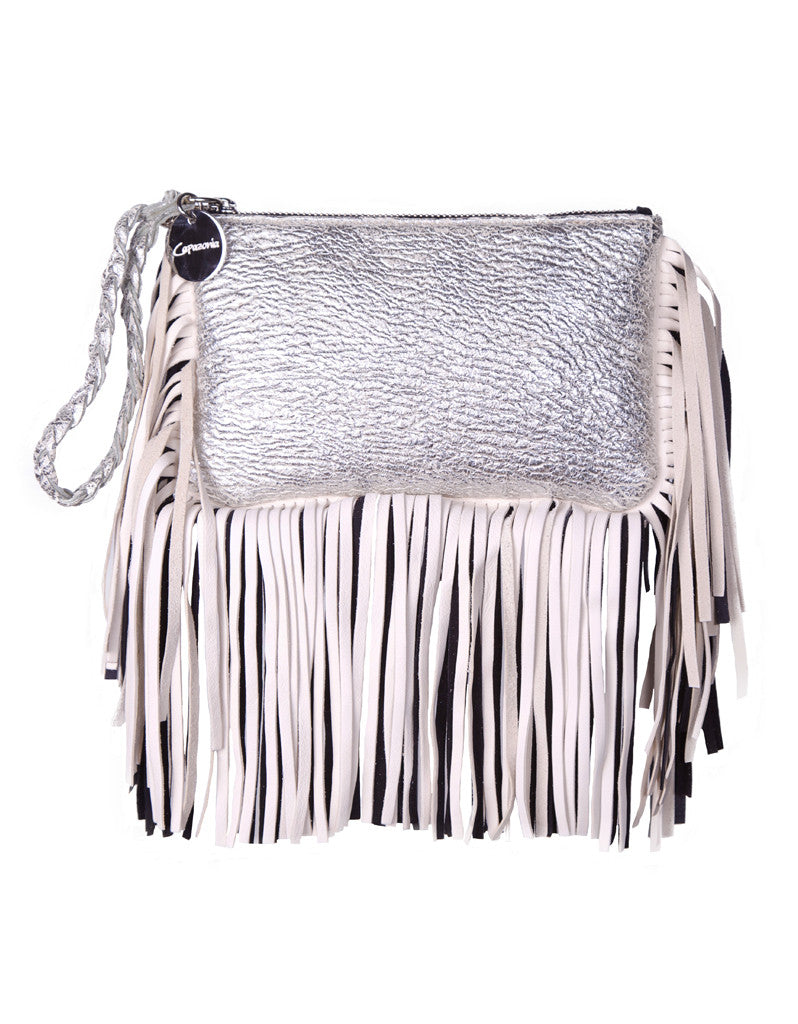 Capazonia Fidji Mini Fringe Clutch in Silver - SWANK - Handbags - 1