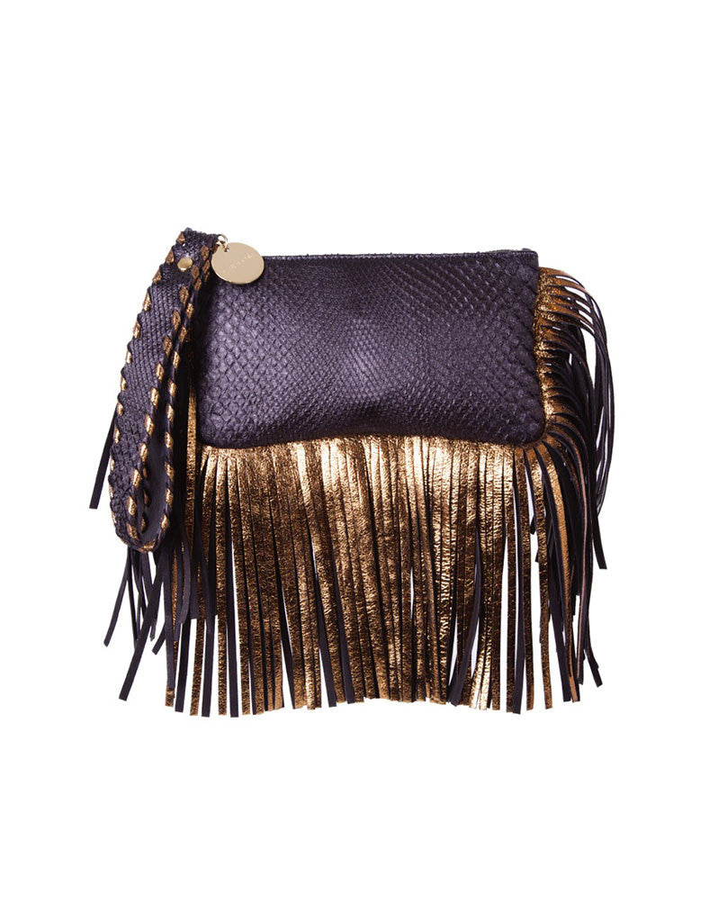 Capazonia Fidji Mini Fringe Clutch in Black Snakeskin - SWANK - Handbags - 1