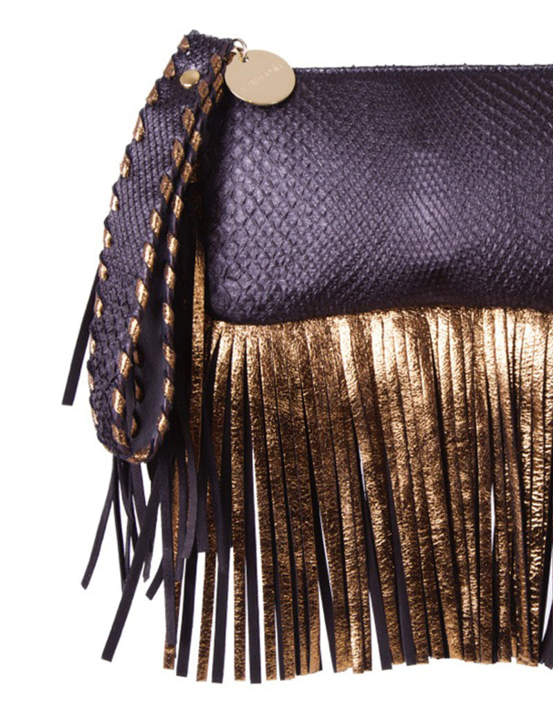 Capazonia Fidji Mini Fringe Clutch in Black Snakeskin - SWANK - Handbags - 2