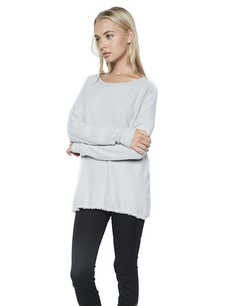 Michael Lauren Field Drop Shoulder Pullover w/Slit in Heather Grey Waffle - SWANK - Tops - 1