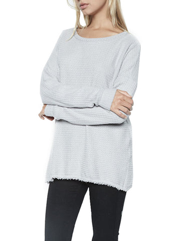 Michael Lauren Field Drop Shoulder Pullover w/Slit in Heather Grey Waffle