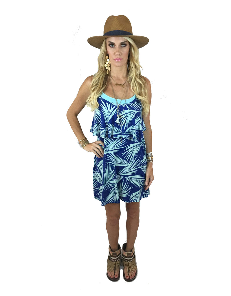 Michael Lauren Marlow Fiesta Mini Dress in Royal Palm Tree - SWANK - Dresses - 2