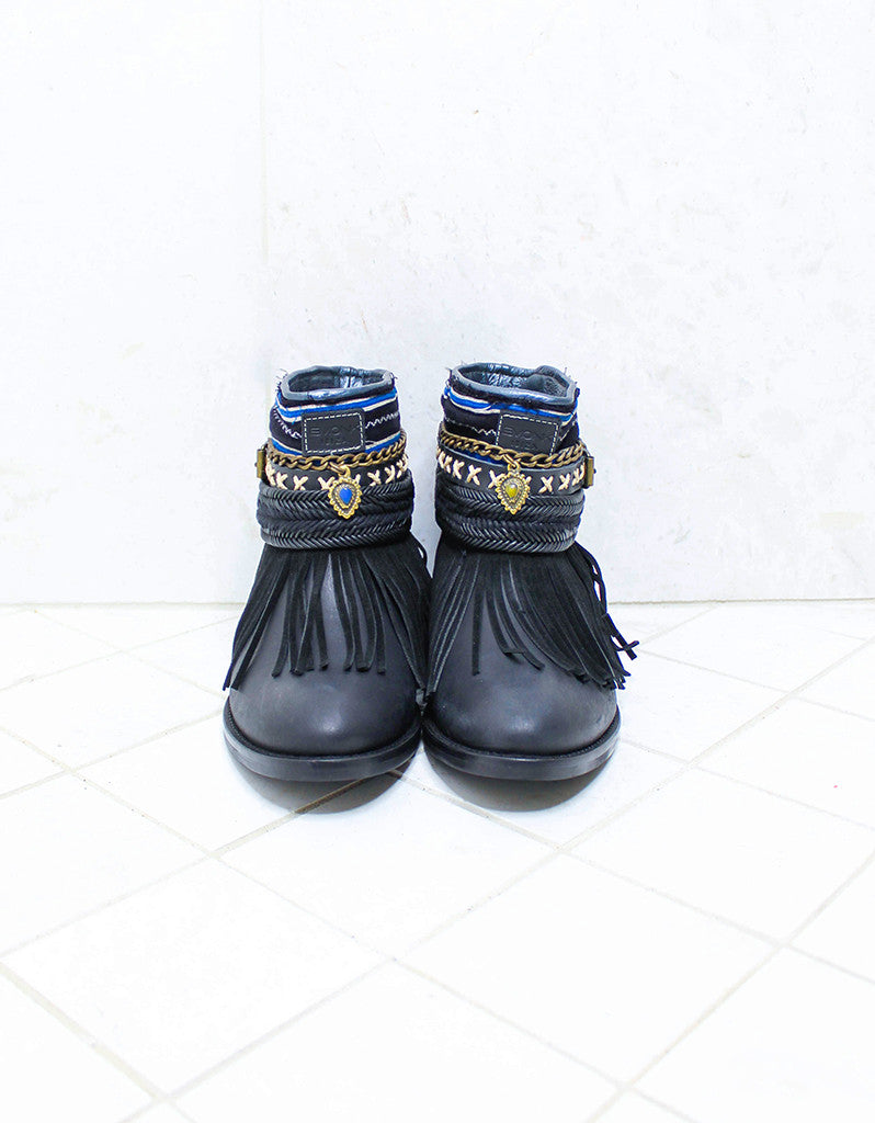 Custom Made Boho Boots in Black | SIZE 38 - SWANK - Shoes - 3