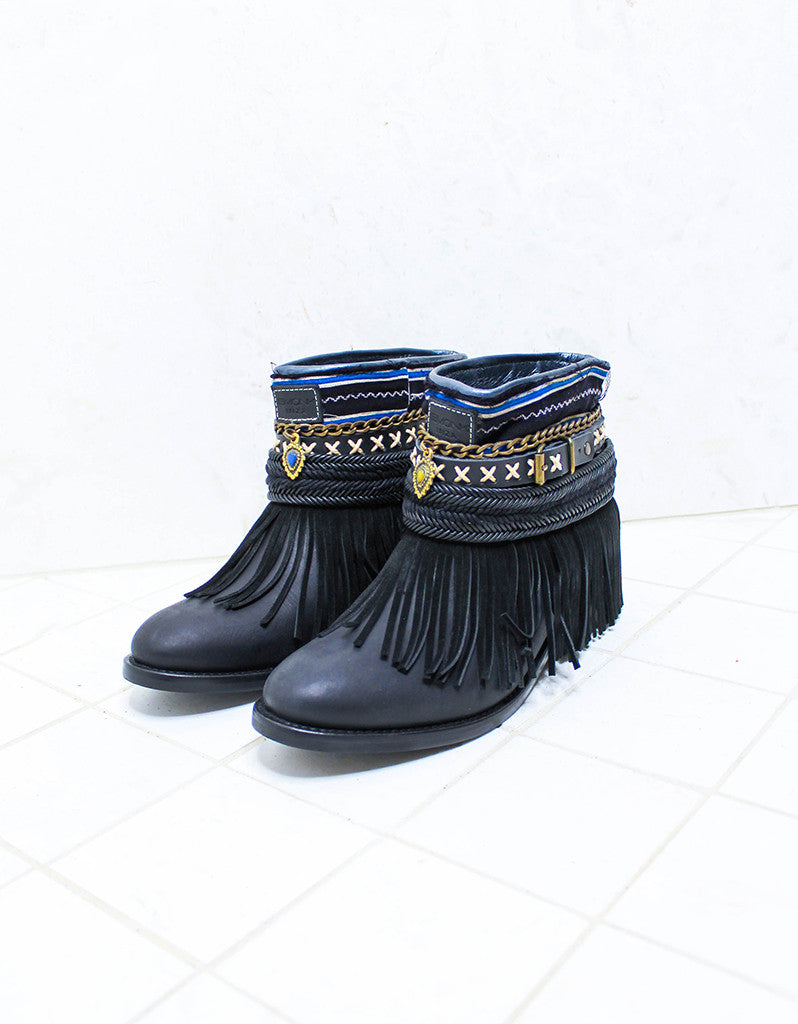 Custom Made Boho Boots in Black | SIZE 38 - SWANK - Shoes - 4