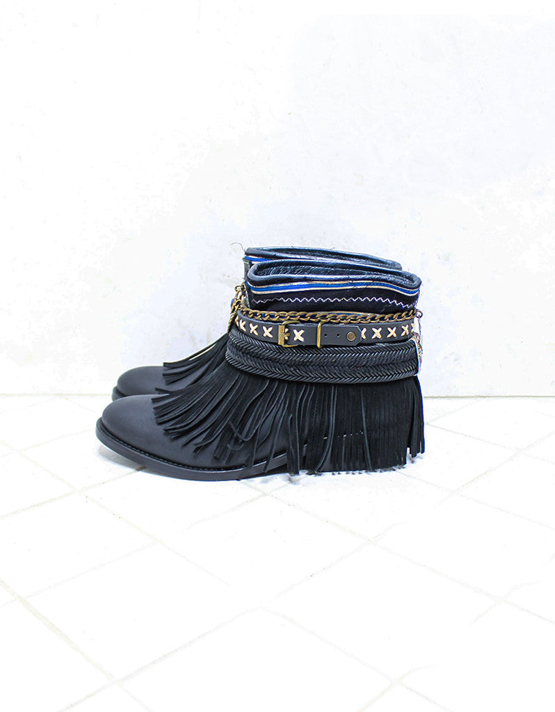 Custom Made Boho Boots in Black | SIZE 38 - SWANK - Shoes - 5