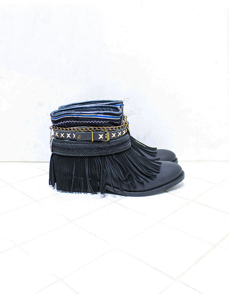 Custom Made Boho Boots in Black | SIZE 38 - SWANK - Shoes - 1