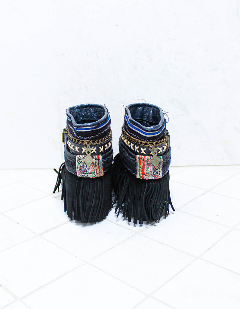 Custom Made Boho Boots in Black | SIZE 38 - SWANK - Shoes - 6