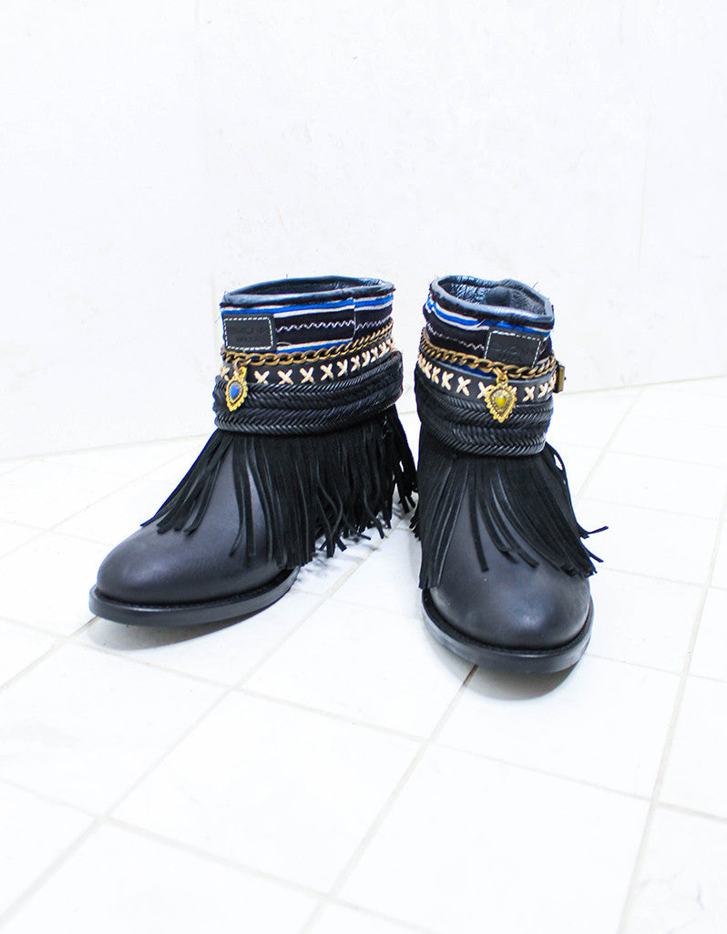 Custom Made Boho Boots in Black | SIZE 38 - SWANK - Shoes - 2