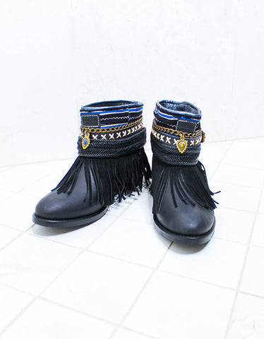 Custom Made Boho Boots in Black | SIZE 38