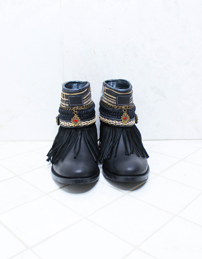 Custom Made Boho Boots in Black | SIZE 40 - SWANK - Shoes - 3