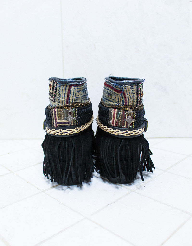 Custom Made Boho Boots in Black | SIZE 40 - SWANK - Shoes - 6