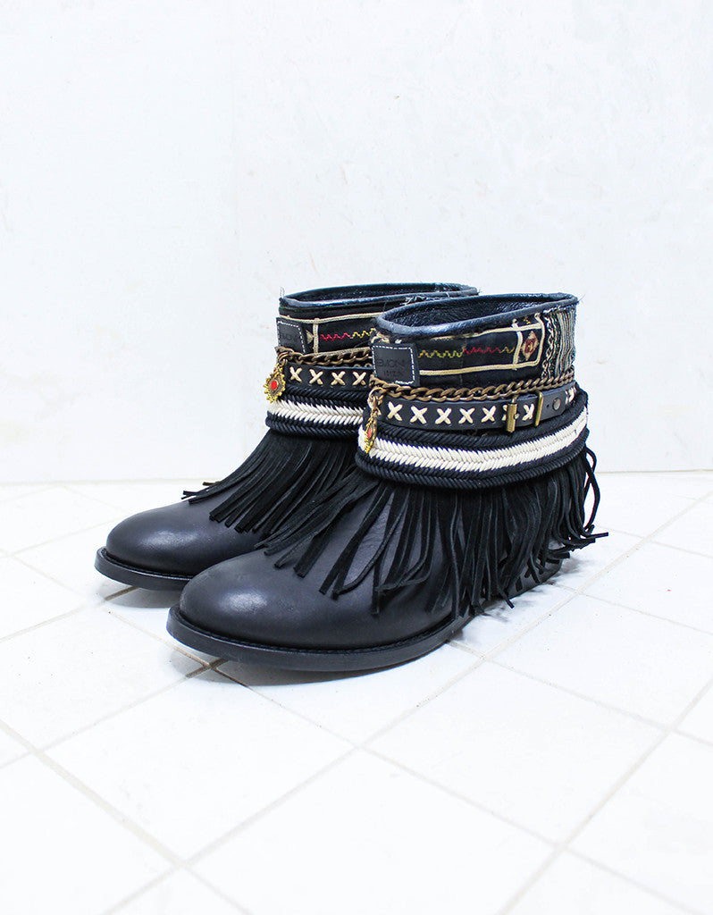 Custom Made Boho Boots in Black | SIZE 40 - SWANK - Shoes - 4