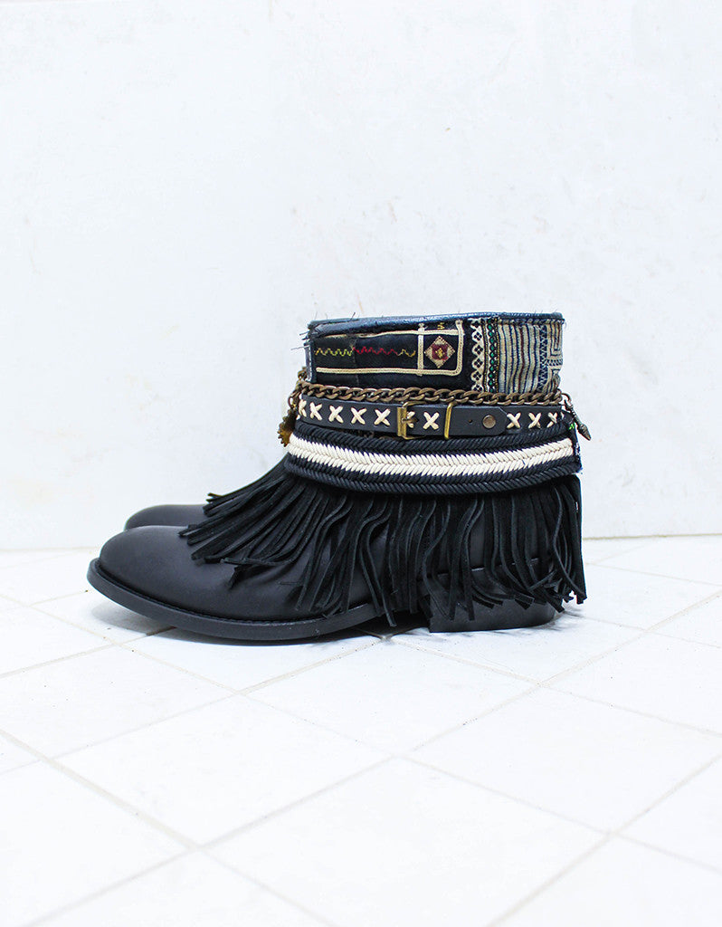 Custom Made Boho Boots in Black | SIZE 40 - SWANK - Shoes - 5