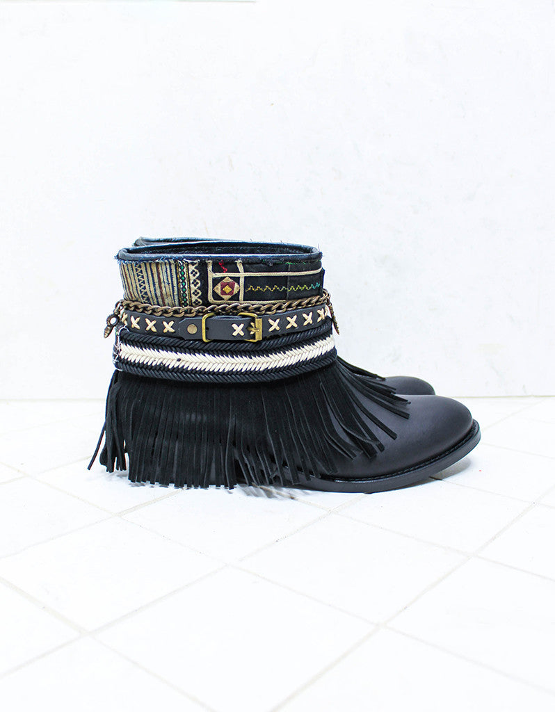 Custom Made Boho Boots in Black | SIZE 40 - SWANK - Shoes - 1