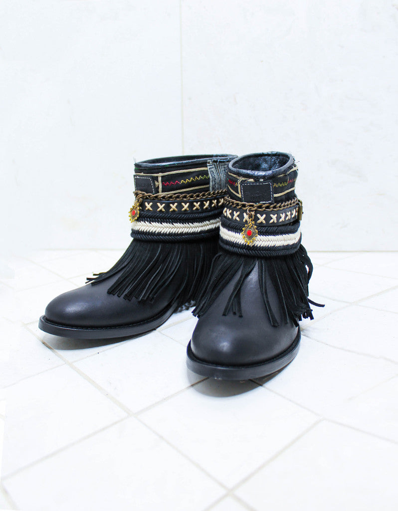 Custom Made Boho Boots in Black | SIZE 40 - SWANK - Shoes - 2