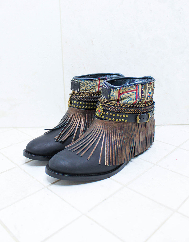 Custom Made Boho Boots in Black | SIZE 41 - SWANK - Shoes - 4