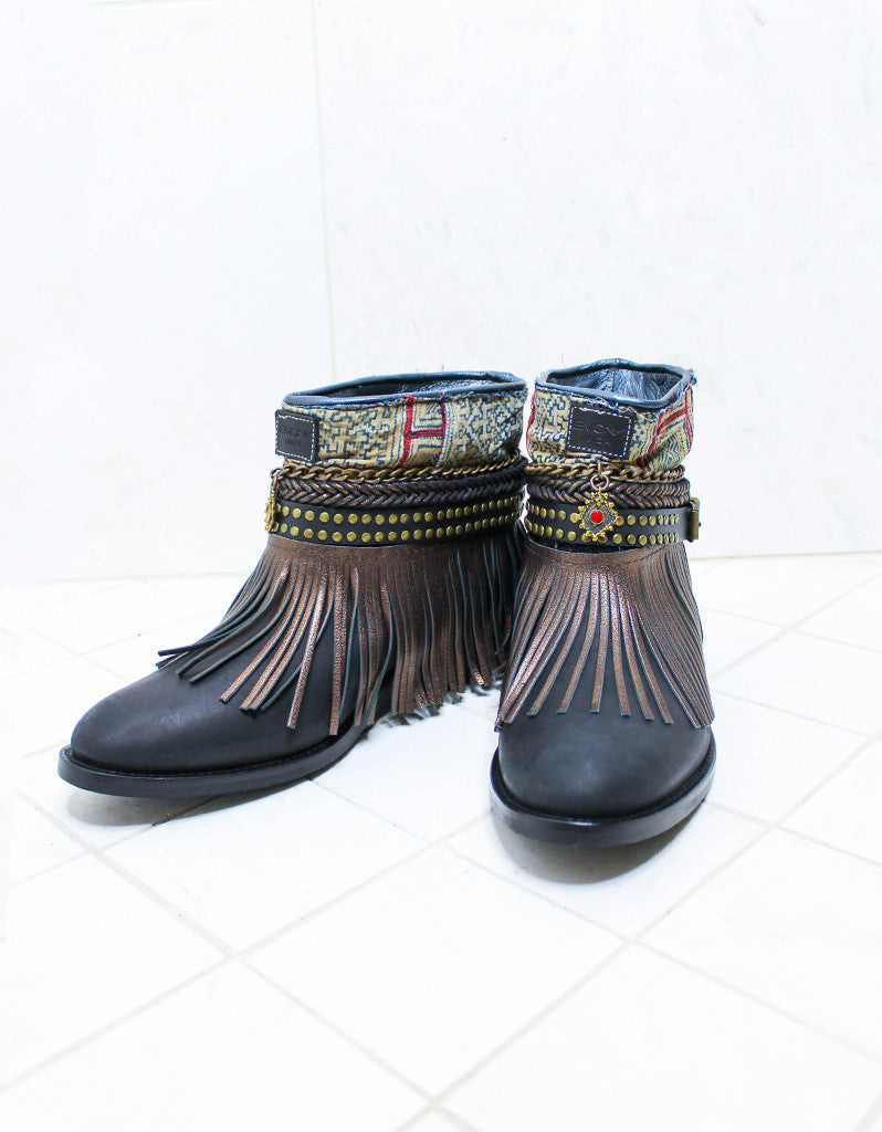 Custom Made Boho Boots in Black | SIZE 41 - SWANK - Shoes - 2