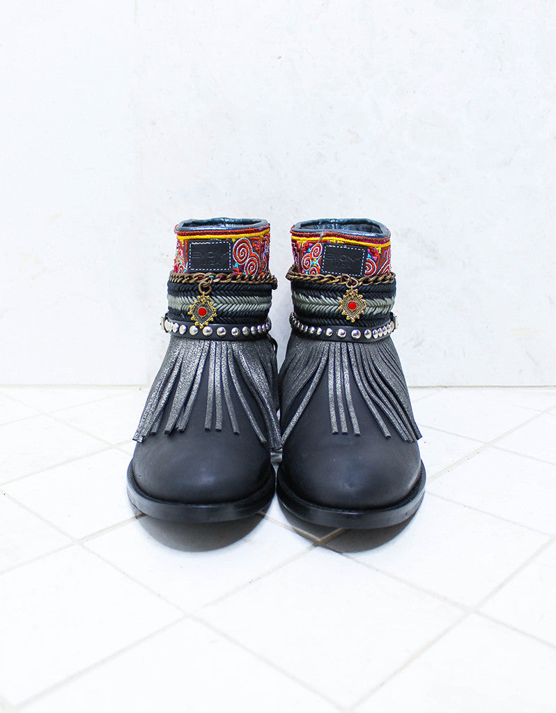 Custom Made Boho Boots in Black | SIZE 41 - SWANK - Shoes - 3