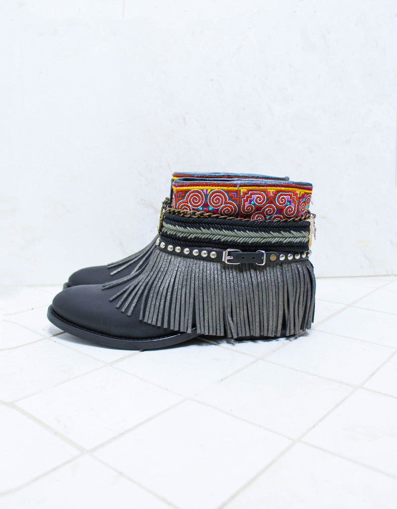 Custom Made Boho Boots in Black | SIZE 41 - SWANK - Shoes - 5